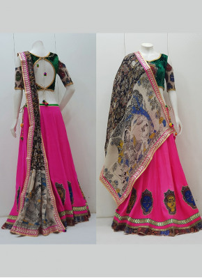 Patch Work Raw Silk Readymade Lehenga Choli