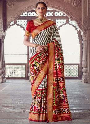 Patola Silk  Classic Designer Saree in Grey