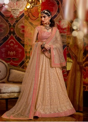 Peach and Pink Lucknowi work Chiffon A - Line Lehengha choli