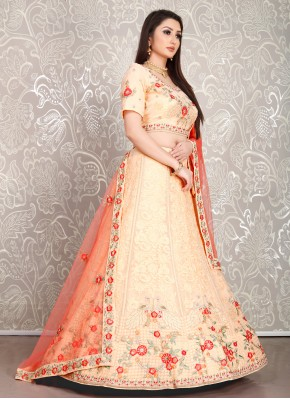Peach Ceremonial Georgette Designer Lehenga Choli