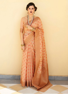 Peach Color Classic Saree