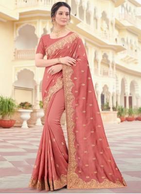 Peach Embroidered Vichitra Silk Designer Traditional Saree