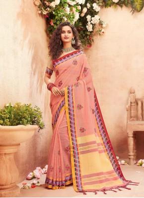 Peach Fancy Fabric Classic Saree