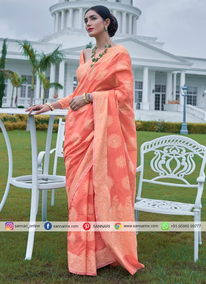 Peach Festival Silk Designer Bollywood Saree