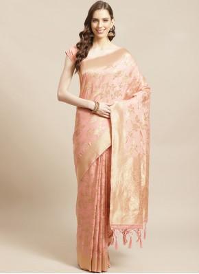 Peach Festival Silk Designer Saree