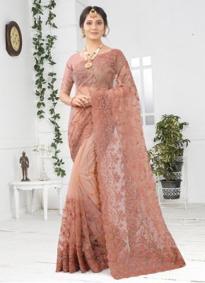 Peach Net Designer Saree