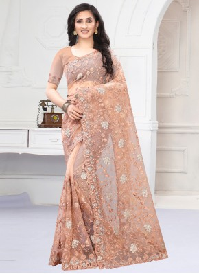 Peach Net Embroidered Designer Saree