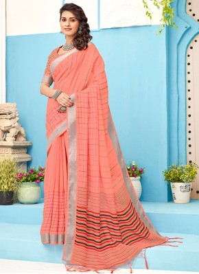 Peach Party Linen Classic Saree