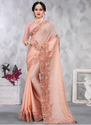 Peach Satin Ceremonial Classic Designer Saree