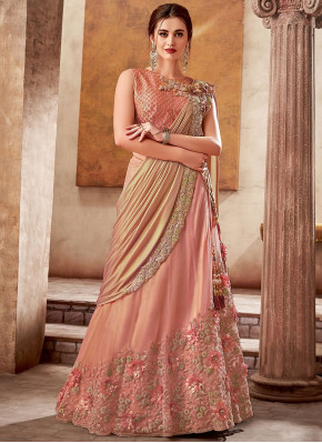 Peach Silk Designer Embroidered Lehenga Saree with 3D Flowers