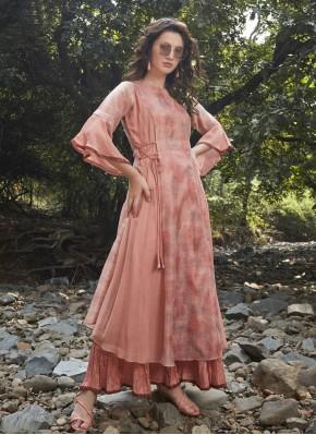 Peach Silk Designer Kurti