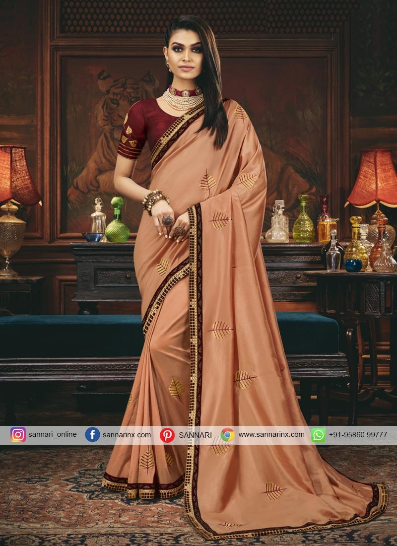 Peach Silk Engagement Traditional Saree