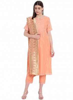 Peach Silk Fancy Party Wear Kurti