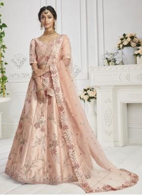 Peach Silk Sangeet Lehenga Choli