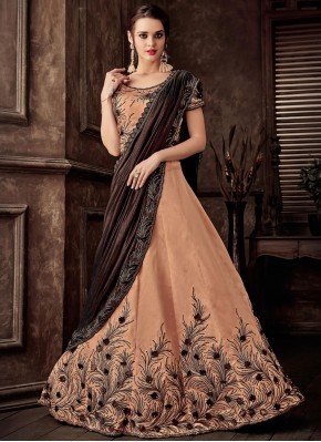Peach Wedding Tafeta Silk Lehenga Style Saree