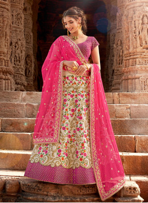 Pearl White Un-stitched Lehngha Choli with Net Pink dupatta