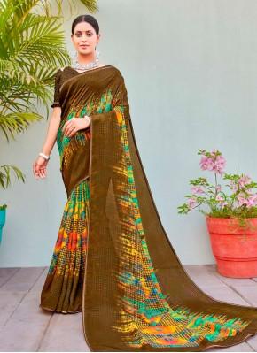 Peppy Abstract Print Cotton Silk Multi Colour Printed Saree