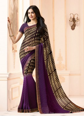 Peppy Abstract Print Faux Georgette Printed Saree