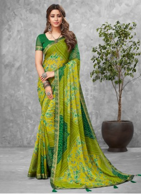 Peppy Abstract Print Multi Colour Faux Chiffon Printed Saree