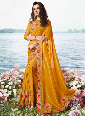 Peppy Embroidered Mustard Designer Traditional Saree