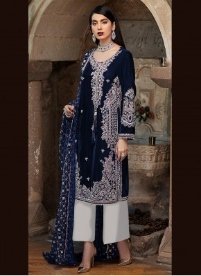 Peppy Faux Georgette Embroidered Designer Pakistani Suit