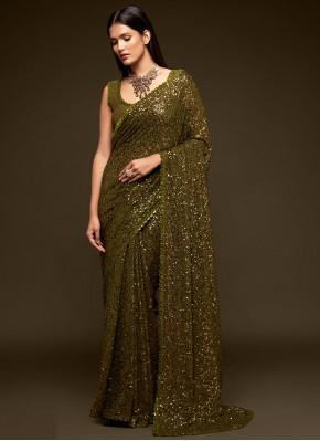 Peppy Faux Georgette Green Classic Designer Saree