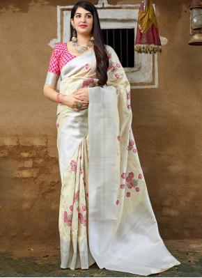 Peppy Off White Banarasi Silk Traditional Saree