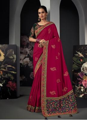 Peppy Patch Border Silk Magenta Classic Designer Saree