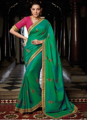 Peppy Weaving Green Trendy Saree