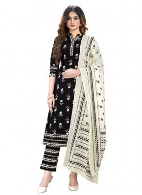 Perfect Cotton Print Black Readymade Suit