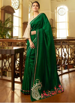 Perfect Embroidered Fancy Fabric Green Trendy Saree