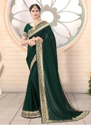 Perfect Green Embroidered Silk Classic Designer Saree