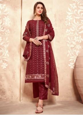 Perfect Maroon Faux Georgette Designer Pakistani Suit