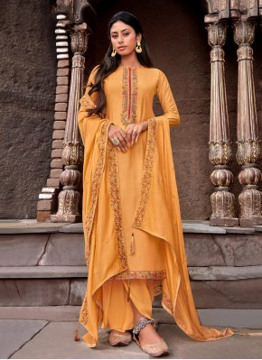 Perfect Mustard Handwork Cotton Silk Designer Palazzo Salwar Suit