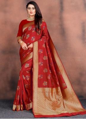 Perfect Red Festival Classic Saree