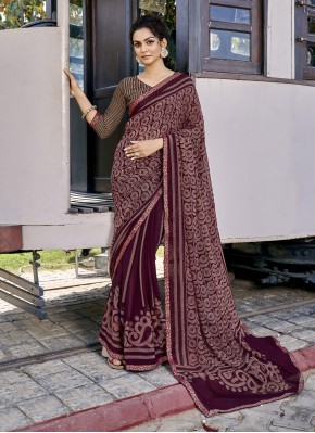 Perfervid Abstract Print Wine Faux Georgette Printed Saree