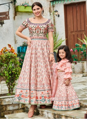 Perfervid Digital Print Pink Floor Length Gown