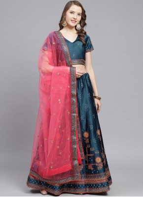 Perfervid Embroidered Blue Bollywood Lehenga Choli
