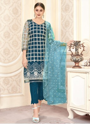 Perfervid Embroidered Blue Pant Style Suit