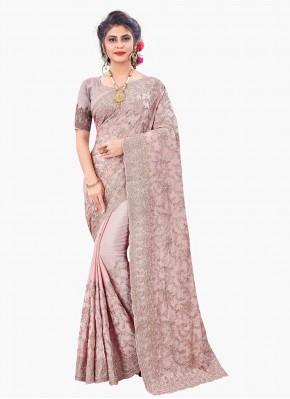 Perfervid Faux Chiffon Pink Designer Saree