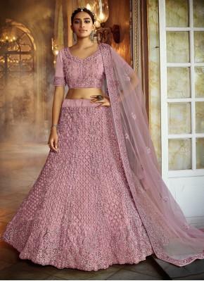 Perfervid Pink Resham Lehenga Choli