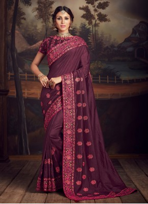 Phenomenal Embroidered Purple Poly Silk Traditional Designer Saree