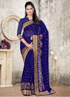 Phenomenal Faux Georgette Blue Designer Traditional Saree