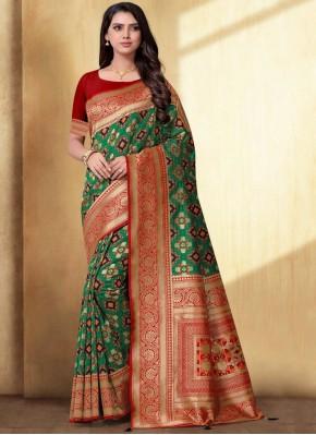 Phenomenal Green Weaving Trendy Saree