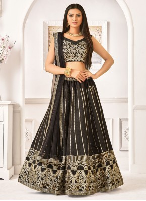 Phenomenal Resham Black Lehenga Choli