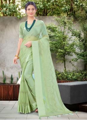 Phenomenal Stone Work Green Chiffon Satin Traditional Saree
