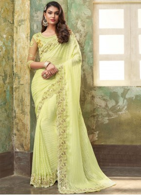 Phenomenal Yellow Embroidered Bollywood Saree