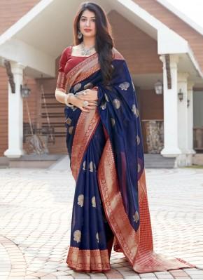 Picturesque Blue Ceremonial Designer Traditional Saree