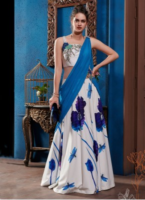 Picturesque Embroidered Multi Colour Designer Gown