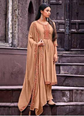 Picturesque Handwork Cotton Silk Peach Palazzo Designer Salwar Kameez